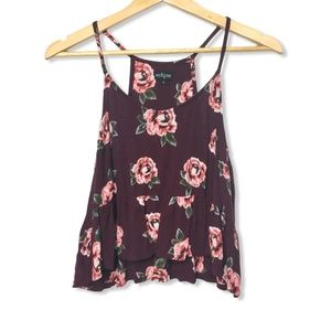 Eclipse Floral Cropped Tank in Maroon | Small